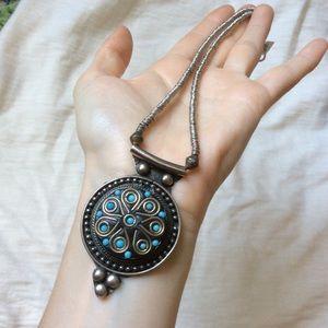 Silver tone carved metal gypsy hippie necklace